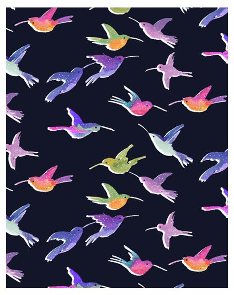 colibri bird textile print